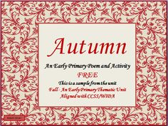This product is an autumn poem that has several complimenting activities. It is designed to teach the concepts and vocabulary of the autumn season. Tier two and tier three words were incorporated into the poem to develop rich use of vocabulary. The children are not expected to read the poem but to learn from it. This product is a sample from the unit Fall an early primary thematic unit-found at TpT from Virginia Olivelli's Little Language Learners.