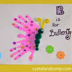 25 Precious Handprint Crafts for Toddlers Handprint butterfly art project. Toddlers, preschoolers, and advanced babies. Kids Crafts, Spring Crafts For Kids, Daycare Crafts, Summer Crafts, Art For Kids, Art For Toddlers, Quick Crafts, Kids Diy, Our Kids