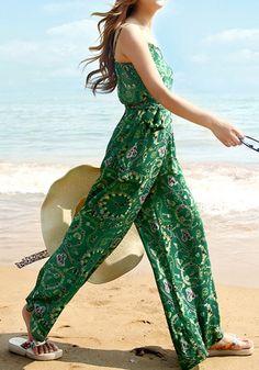 Beautiful green printed jumpsuit