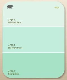 Love these colours :paint chip: Window Pane, Seafoam pearl, Reef Green, by Behr Paint, Home Depot.