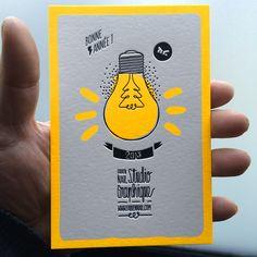 Print : Badcass - Design : Fabien Nail - Carte de voeux en letterpress - #débossage