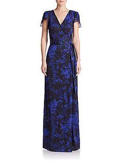 Diane von Furstenberg Kacey Printed Silk Wrap Gown