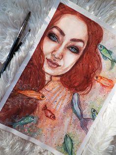 рыбы, море, цвет, рыжий, огонь, краски, акварель, рисунок, арт, watercolor