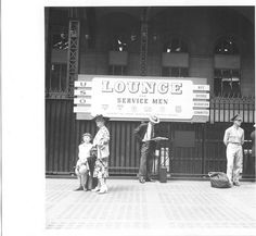 Outside New York's Pennsylvania Station.  A typical and most welcome  USO service for men in transit.  Service Men Lounge New York on August 11, 1942. Photo by Marjory Collins.