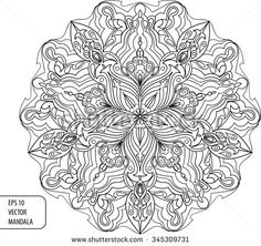 Vector black and white background with mandala ornament. EPS 10 vector illustration. Line-art style. Graphic art.