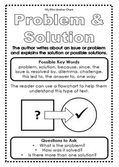 Expository Text Structure - Problem and Solution Mini Anchor Chart. Use these mini anchor charts to teach expository text structure. Have your students glue them in their reading journals so they have the information handy!: