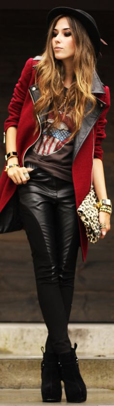 I love this look. It reminds me of a circus entertainer and biker mixed into one.
