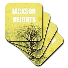 T-Shirts White Jackson Heights with Fall Trees and Yellow Background 3dRose Kike Calvo Jackson Heigths