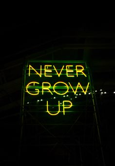 Never grow up yellow neon sign