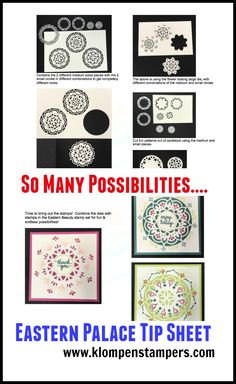 Tip sheet showing all different ways to combine the Eastern Medallions dies and Eastern Beauty stamp set.