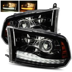 For 2010-2018 Ram 1500/2500/3500 Polished Black Projector Headlights Upgrade Kit #RacerInnovation