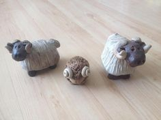 Gairloch Studio Pottery Ram Figurines Set of Three Adorable Sheep #vintagepottery #studiopottery #homedecor #giftgiving