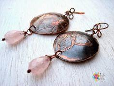 earrings butterfly: copper, pink quartz