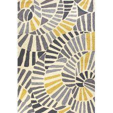 Yellow/Grey Abstract Indoor/Outdoor Area Rug