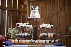 Wedding cake & cupcakes arrangement