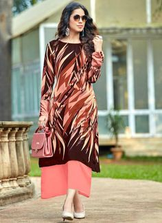 ca6f2909bfb Excellent Peach And Brown Georgette Party Wear Designer Kurti -- miraamall  Party Wear Kurtis