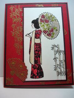 handmade card ... Asian theme .. by pvilbaum - ... luv the gold embossing on red .. modern geisha with parasol ...