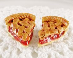 Cherry Pie Earrings Polymer Clay Charm Jewelry by LolitaPopShop
