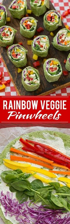 Rainbow veggie pinwheels are made with homemade ranch spread and a variety of fresh veggies for a colorful and healthy lunch, snack or appetizer. Modification: Make a vegan ranch spread Lime Quinoa Salad, Vegetarian Recipes, Cooking Recipes, Vegan Vegetarian, Going Vegetarian, Vegetarian Breakfast, Vegetarian Fast Food Options, Healthy Vegetarian Meals, Vegetarian Wraps