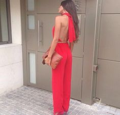 Red jumpsuit, Jumpsuits and Open backs on Pinterest