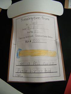 Medicine Bottle Writing Activity--Bad Case of Stripes! Kindergarten Reading, Kindergarten Teachers, Reading Activities, Too Cool For School, School Fun, School Stuff, School Ideas, Bad Case Of Stripes, First Grade Writing