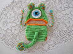 Lime Monster Crochet Hat and Diaper Cover  With or Without
