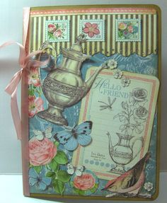 """Botanical Tea from Graphic 45. . . I am in love with these papers!! This is a 5"""" x 7"""" card,"""