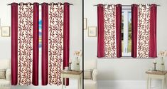 Curtains & Sheers Classic Polyester Printed Window Curtains Set Of 2 & Door Curtains Set Of 2  *Fabric* Polyester 
