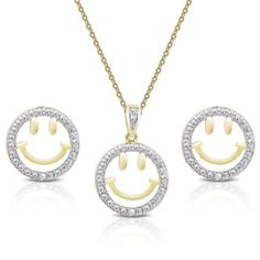 Shop for Finesque Gold over Silver Diamond Accent Smiley Face Necklace and Earrings Set and more for everyday discount prices at Overstock.com - Your Online Jewelry Store!