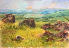 Beacon Hill, Three Rocks. Charnwood Forest, Leicestershire landscape Acrylic on board. 70x50cm