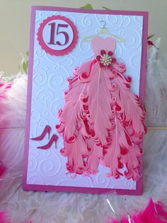 Best 12 Gorgeous Quinceañera handmade invitation with feathers. Tarjetas Diy, Handmade Invitations, Dress Card, Kirigami, Handmade Birthday Cards, Creative Cards, Quinceanera, Homemade Cards, Invitation Cards