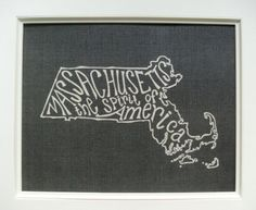 """Massachusetts typography print (apparently our state motto is """"The spirit of America""""...)"""
