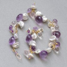 SALECluster bracelet with amethyst rose by FridaHandmadeJewelry