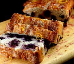 Smashed Blueberry Lemon Loaf Cake made with Nonfat Greek Yogurt