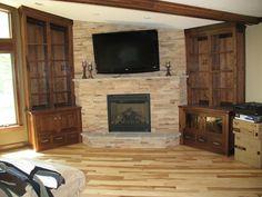 Custom Made Fireplace Bookshelves - Walnut i like the drawers for DVD/CD storage