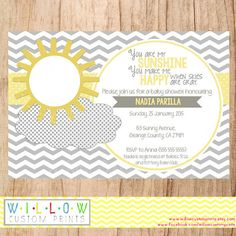 MY SUNSHINE Baby Shower Invitation You Are by WillowCustomPrints