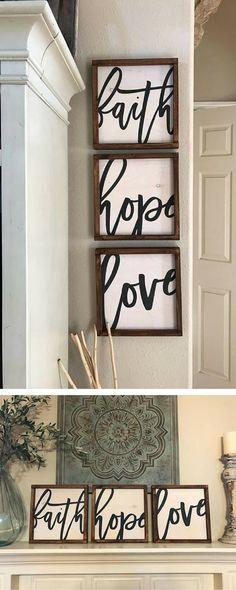 Faith, Hope, Love (set of 3) decor| farmhouse| walls| faith| hope| love| etsy| #ad
