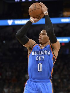 5d87eeaf Oklahoma City Thunder guard Russell Westbrook shoots during the first half  of an NBA basketball game
