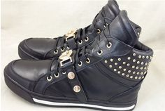 Real leather Black Brand Versa Men Lace Up Sneakers Genuine Leather 50% off