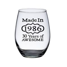 30th Birthday Wine Glass, Dirty 30, 30th Birthday Gift Woman, Personalized Wine Glasses, Woman's 30th Birthday, Friend Gift, Made in 1986 by PersonalizedGiftsUS on Etsy https://www.etsy.com/listing/292732641/30th-birthday-wine-glass-dirty-30-30th