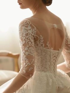 Illusion neck corset back lace tulle wedding dress with train Tulle Wedding, Dream Wedding Dresses, Wedding Suits, Wedding Bride, Bridal Dresses, Arab Wedding, Wedding Music, Wedding Reception, Christian Wedding Gowns
