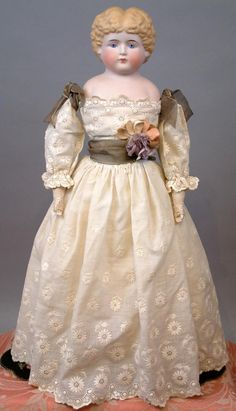 "Gorgeous 21"" Parian Lady In Fabulous Victorian Hand-Embroidered Lawn from kathylibratysantiques on Ruby Lane"