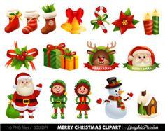 Christmas Clipart set Santa clipart Christmas clip art Christmas Vector art Snowman clip art Merry Christmas digital INSTANT DOWNLOAD