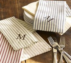 Vintage Ticking Stripe Napkins in red and blue for the cabin - different monograms so people can identify which one is theirs