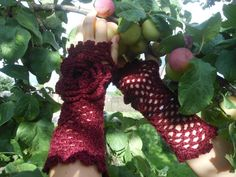 Lace Crochet Fingerless Gloves Hand Warmers Merino Wool Soft Romantic Vintage Style Rich Burgundy. $22.00, via Etsy.