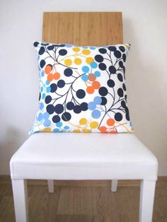 """Blue Pillow Cover - White Linen with Blue, Turquoise, Yellow, Orange Circles Print for Home Decor - 18x18"""" - Gift for Her - Ready to Ship. $18.00, via Etsy."""