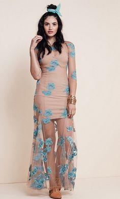 Spellbound Beige Blue Sheer Mesh Lace Long Sleeve Scoop Neck Maxi Dress