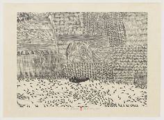 Xu Bing (via MoMA | The Collection | Xu Bing. Black Tadpoles from Series of Repetitions. 1988)