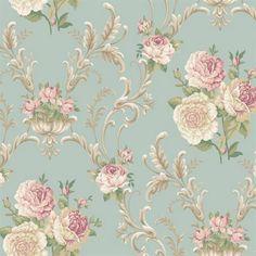 Blue Floral Scrolling Wallpaper