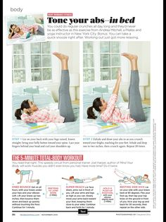 Bed Workout, Toned Abs, Crunches, Pilates, Fit Women, November 2015, Exercises, Pop Pilates, 6 Pack Abs